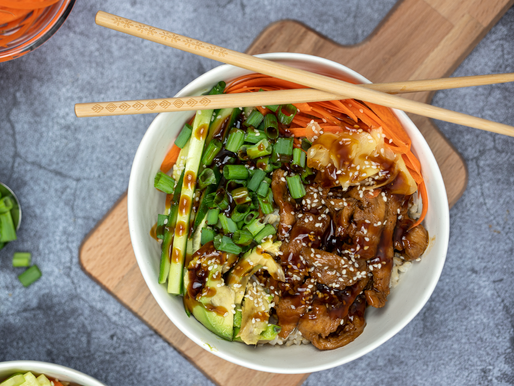 Vegan Sushi Bowl with Homemade Teriyaki Sauce | Gluten Free & Oil Free