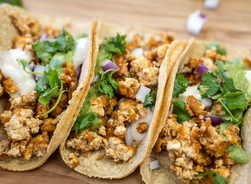Vegan Tacos with Tofu Taco Meat and Creamy Avocado Cilantro Sauce