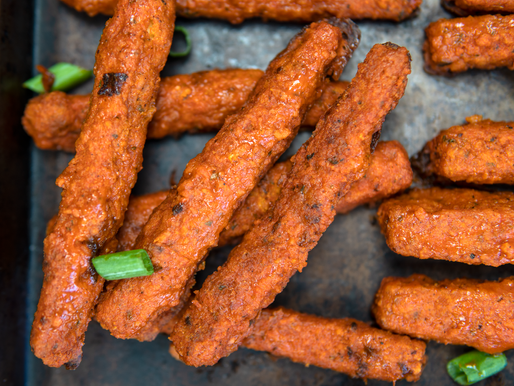 Vegan NO FRY Crispy Buffalo Tofu 'Wings'