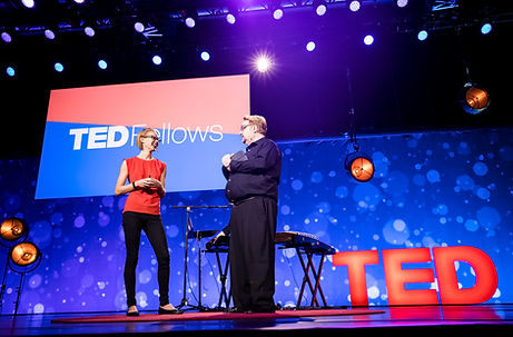 Kristen Marhaver on stage at TED 2017