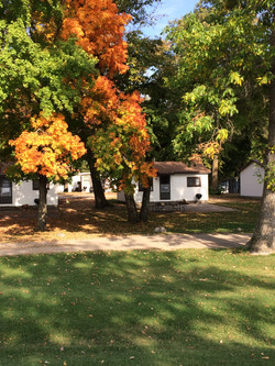 Cabins in the fall at Smith Lake Res