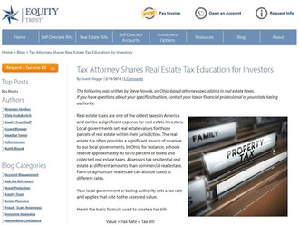 Equity Trust's Blog Posted One of My Articles To Educate Real Estate Investors