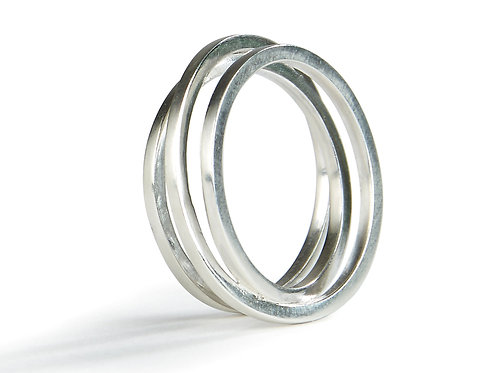 Triple Twist Ring (silver finish)
