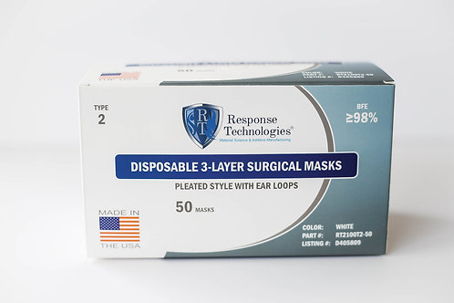 TYPE 2 Standard Face Masks -  50 count