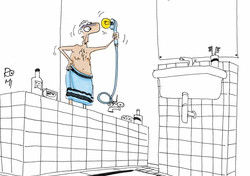 kreslený vtip oprava sprchy