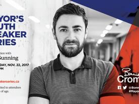 Register for Patrick Gunning's talk at the Mayor's Youth Speaker Series (Wednesday November