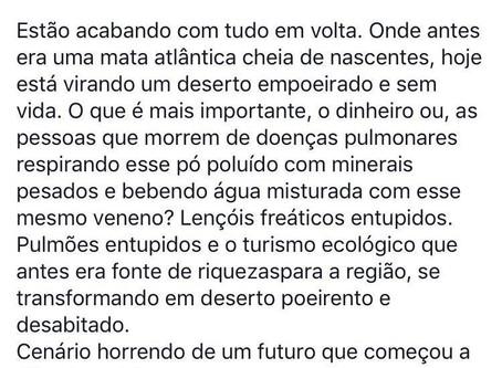 Postagem de (cerca de) um ano atrás, do Sr. Marcio Paulo Mascarenhas - dono da pousada Nova Estância