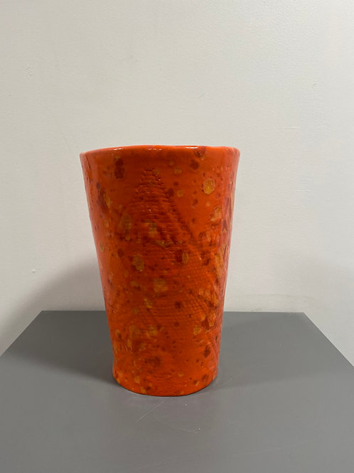 Vase émaillé orange moucheté