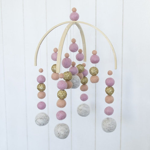 Pink, Gold Glitter and Marble Mobile