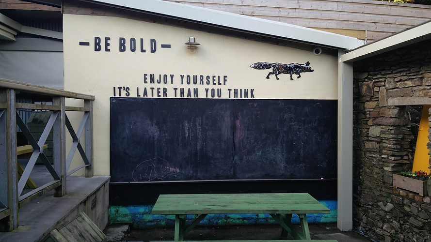 Chalk board for the kids and some catchy signage