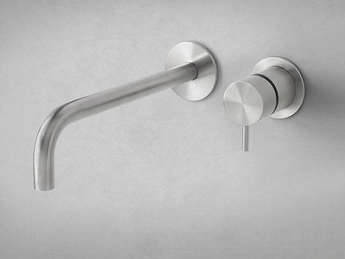 Flow Single Lever Wall Mounted Basin Mixer Tap :: Brushed stainless steel