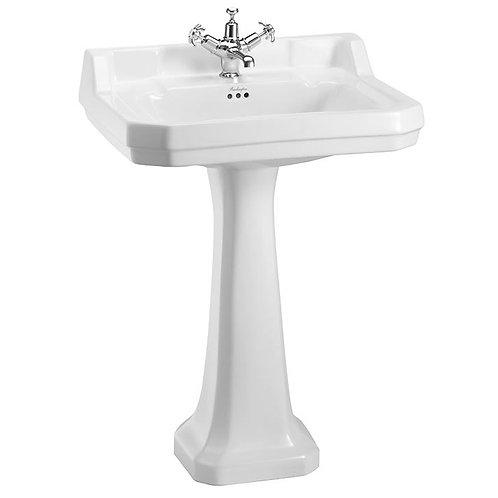 Burlington Edwardian Rectangular 610mm Basin With Pedestal