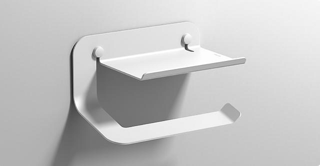 Quick Toilet Roll Holder with Shelf 2.0 :: Matt White