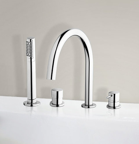 Flow Deck Mounted 4 Hole Bath Shower Mixer Tap :: Chrome