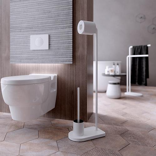 Nomad Vanguard Freestanding WC Brush- Toilet roll Holder Stand White