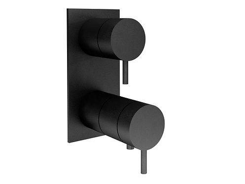 Flow Triple Thermostatic Shower Valve with Diverter ::Matt black