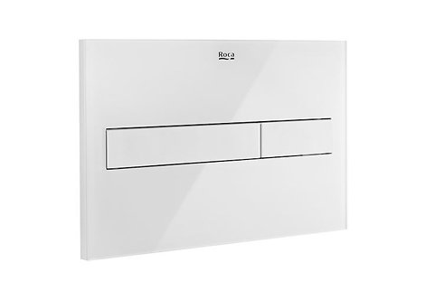 Roca PL7 Dual Flush Plate - White With Glass