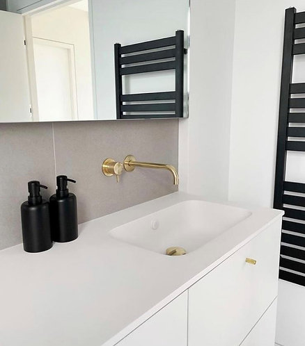Flow Single Lever Wall Mounted Basin Mixer Tap - Brushed Brass