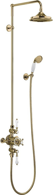 Avon Gold Thermostatic Exposed Shower Valve Dual Outlet