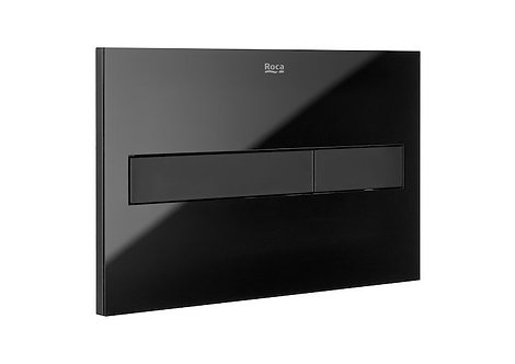 Roca PL7 Dual Flush Plate - Black With Glass