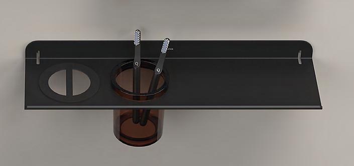Quick Bathroom Shelf With Glass Tumbler - Matt Black