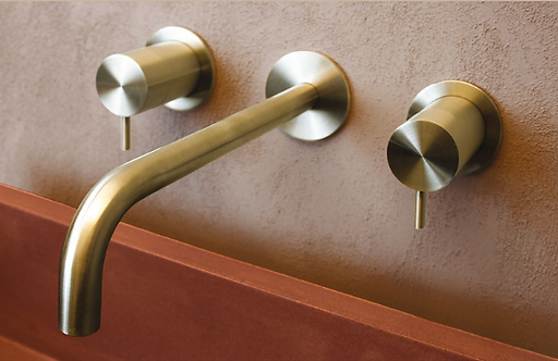 Wall Mounted Basin Mixer Brushed Brass -Flow DualLever