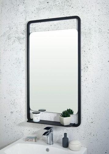 Bathworks Essentials Mirror & Shelf || Matt Black