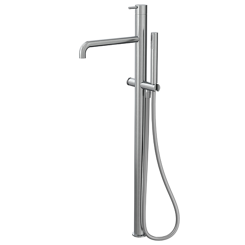 Flow Freestanding Bath Shower Mixer Tap -Brushed Stainless steel