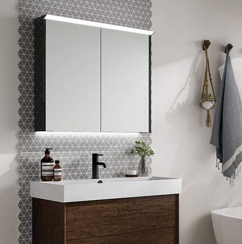 HIB Dusk 80 Gloss Black Mirror Cabinet - Double Door