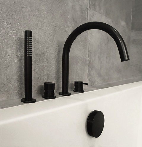 Flow Deck Mounted 4 Hole Bath Shower Mixer Tap :: Matt Black