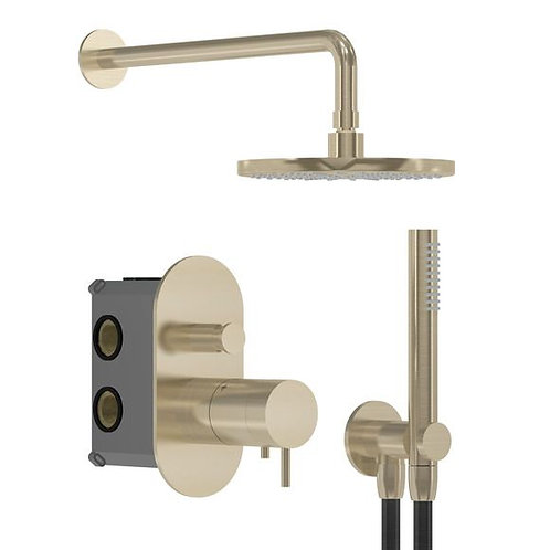 Flow Thermostatic Dual Shower Set - Brushed Brass