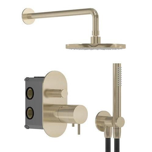 Flow thermostatic Dual Shower Valve Chrome Full shower pack:: Bruchsed brass