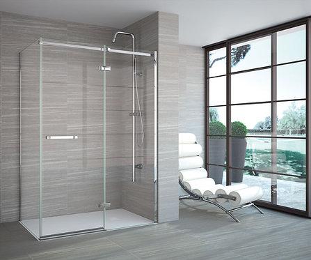 Series 8 Frameless Hinge & Inline Shower Door With Side Panel - 170