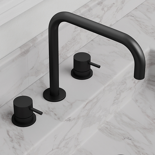 Flow Deck Mounted Basin Mixer Tap With H Spout :: Matt Black