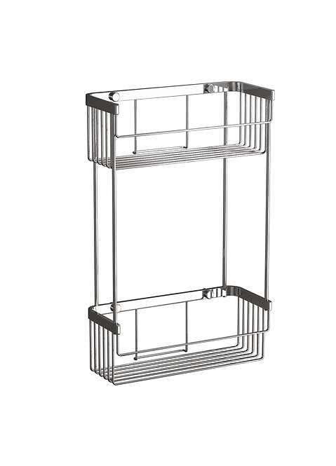 Lightweight Double Tiered Wire Shower Basket- NO Drill Fitting Available