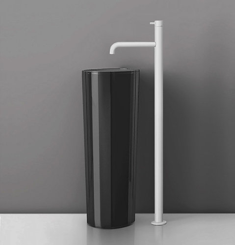 Flow Floorstanding Single Lever Basin Mixer - Matt White