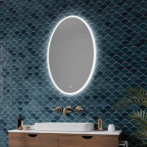 HiB Arena 80 LED Illuminated Oval Mirror With Touch Switch And Heating Pad