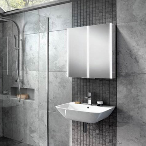 HiB Xenon 60 LED Illuminated Mirror Cabinet with Mirrored Sides