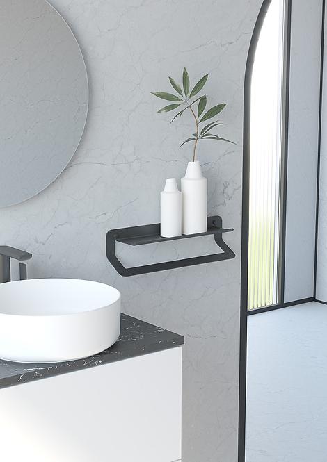 Quick Shelf With Towel Rail 450mm - Matt Black