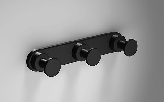 Tecno Project Triple Robe Hook - Matt Black