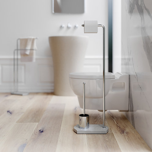 Nomad Classic Freestanding WC Brush- Toilet roll Holder Stand Chrome