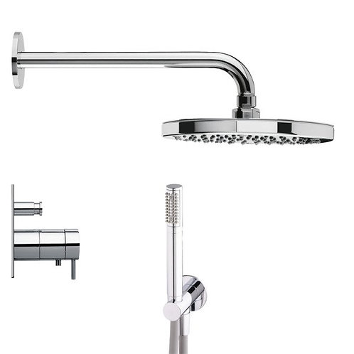 Flow thermostatic Dual Shower Valve Chrome Full shower pack