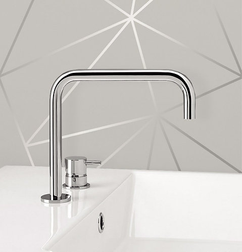Flow Deck Mounted Basin Mixer Tap With H Spout - Chrome
