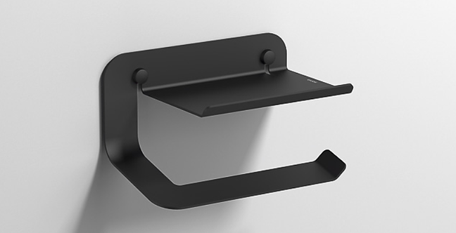 Quick Toilet Roll Holder with Shelf 2.0 :: Matt Black