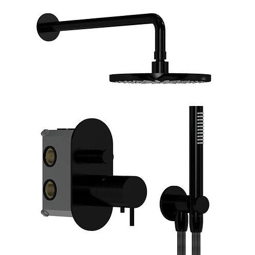 Flow Thermostatic Dual Shower Valve Full Shower Pack :: Matt Black