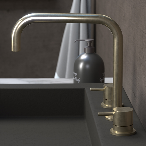 Flow Deck Mounted Basin Mixer Tap With H Spout :: Brushed brass