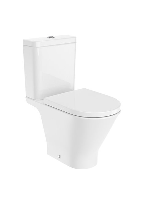 Roca The Gap Round Rimless Open Back C/C WC, Cistern & Soft Close Seat
