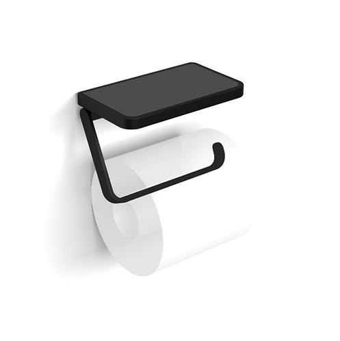 HiB Toilet Roll Holder With Shelf & Anti-Slip Mat - Black