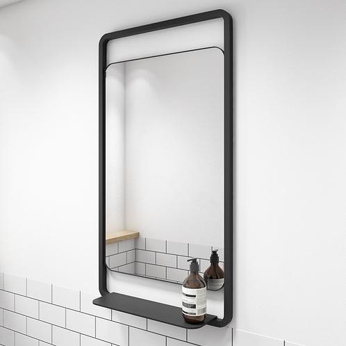 The Bathworks Essential Matt Black Mirror With Shelf 500x900mm
