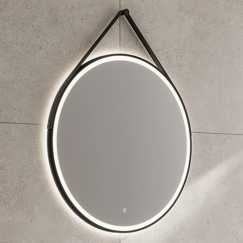HiB Solstice 80 Illuminated LED Matt Black Round Mirror with Demister Pad